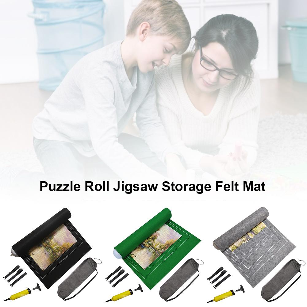 Roll Mat For Storage 500/1000 Pieces Jigsaw Puzzle Blanket Random Color Space-saving Puzzles Assemble Felt Accessories Flexible
