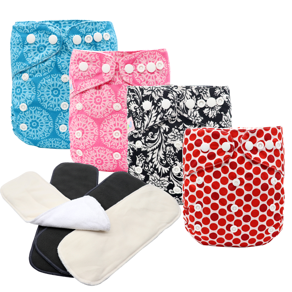 MABOJ Cloth Diapers Baby Washable Reusable Cloth Pocket Nappy Diaper Waterproof Nappies Cotton Microfiber Bamboo Insert Choose