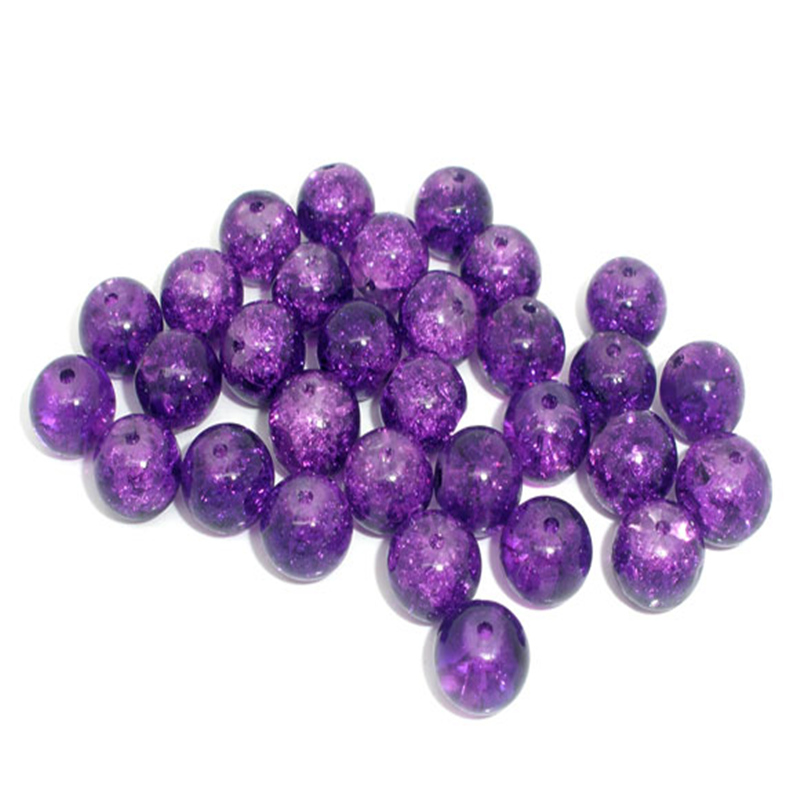 100 PCs Doreen Box Crackle Glass Beads Round  8mm Dia. Purple Bead For DIY Bracelet Jewelry Making Accessories, Hole: 1.2mm