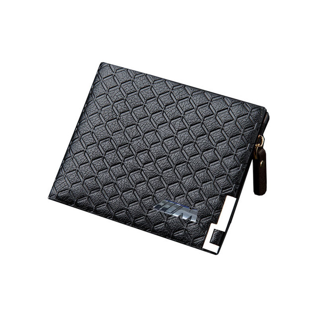 Black/Light Bronw/Dark Brown Top PU Leather Car logo Bag Card Package Wallet Coins Bag Silver M Power Free Shipping