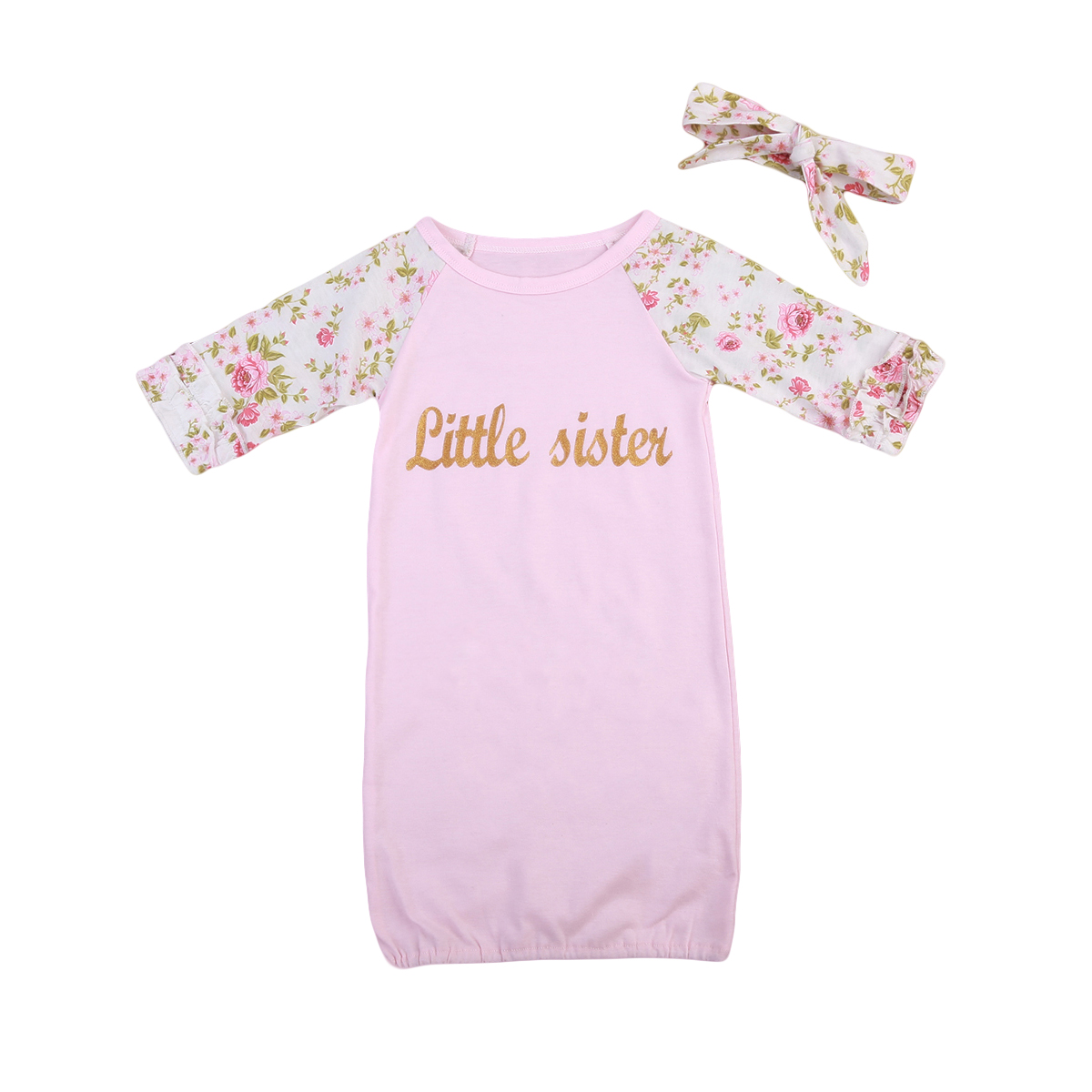 Newborn Baby Girls Infant Swaddle Wrap Blanket Cotton Floral Long Sleeves Sleeping Bag+Headband Soft Home Outfit 0-24M