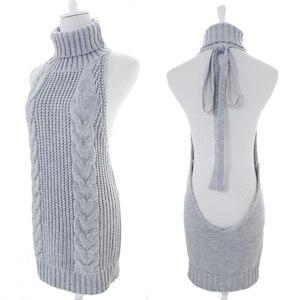 Женский свитер FORERUN, вязаный свитер с высоким воротом и открытой спинкой, осень 2020