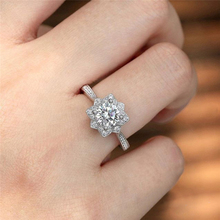 Fashion Zircon Snowflake Ring Silver Plated White Gold Woman Party Decoration Gift