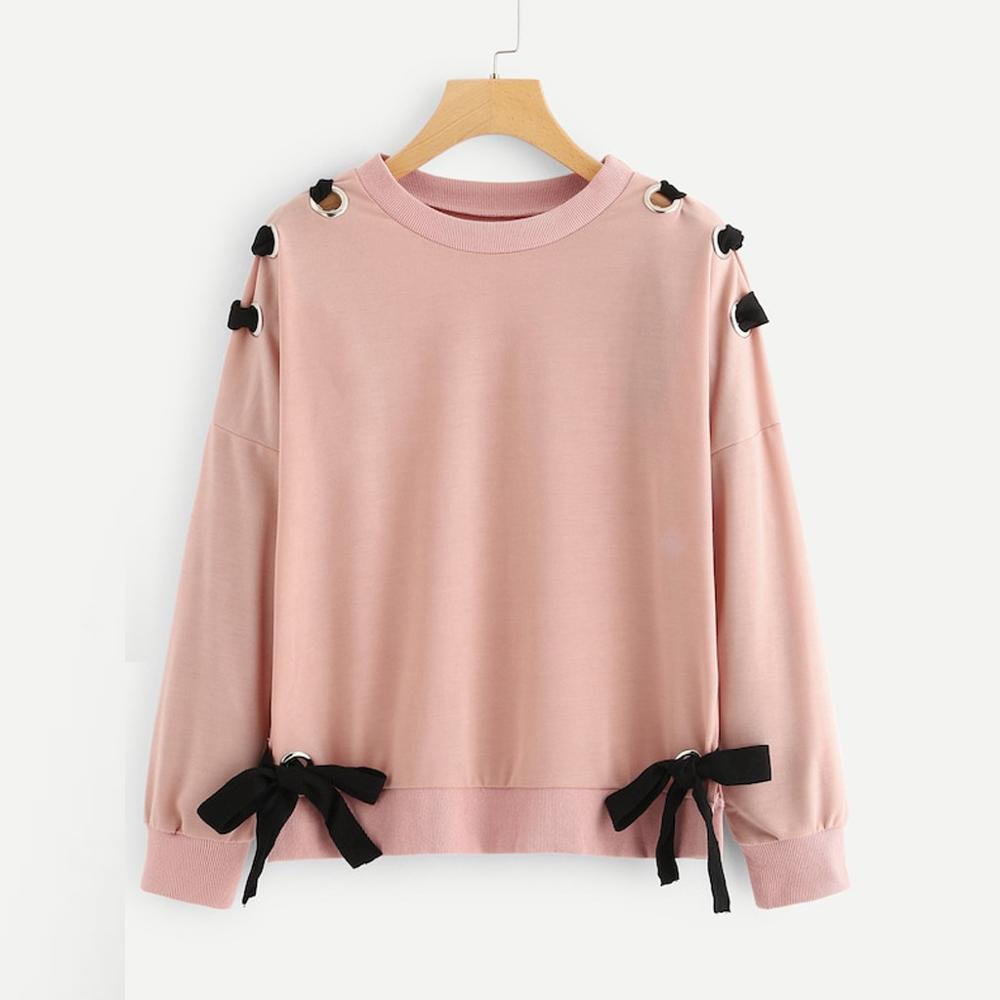 Drop Shoulder Bandage Knot Side Cross Sweatshirt Women Casual Autumn Plain Clothing Top Spring Round Neck Long Sleeve Pullover#D