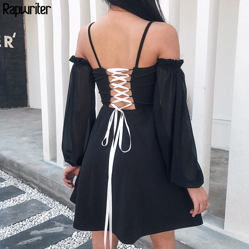 Rapwriter Spaghetti Strap Backless Cross Lace-up Long Mesh Lantern Sleeve Elegant <font><b>Dress</b></font> Women 2020 <font><b>A</b></font>-<font><b>Line</b></font> Party <font><b>Dress</b></font> Vestido image