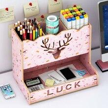 New DIY Pen Holder Box Desk Organizer Large Capacity Desktop Stationary Storage Rack For School Office Deer Head Pattern Wood