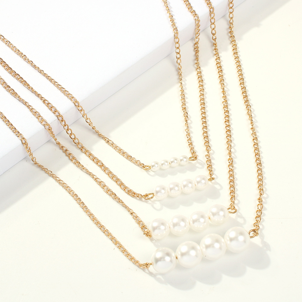 Fashion Women Multilayer Long Pearl Necklace Pendant Chain Elegant Jewelry Gift