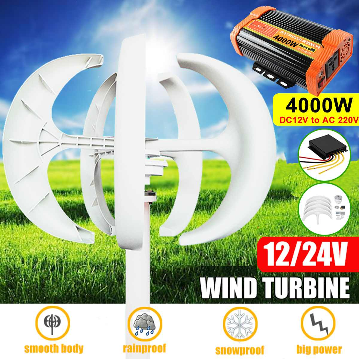 4000W AC 12V 24V 5 Blades Vertical Axis Wind Turbine Generator Permanent Magnet Lantern Motor Kit With Controller For Home