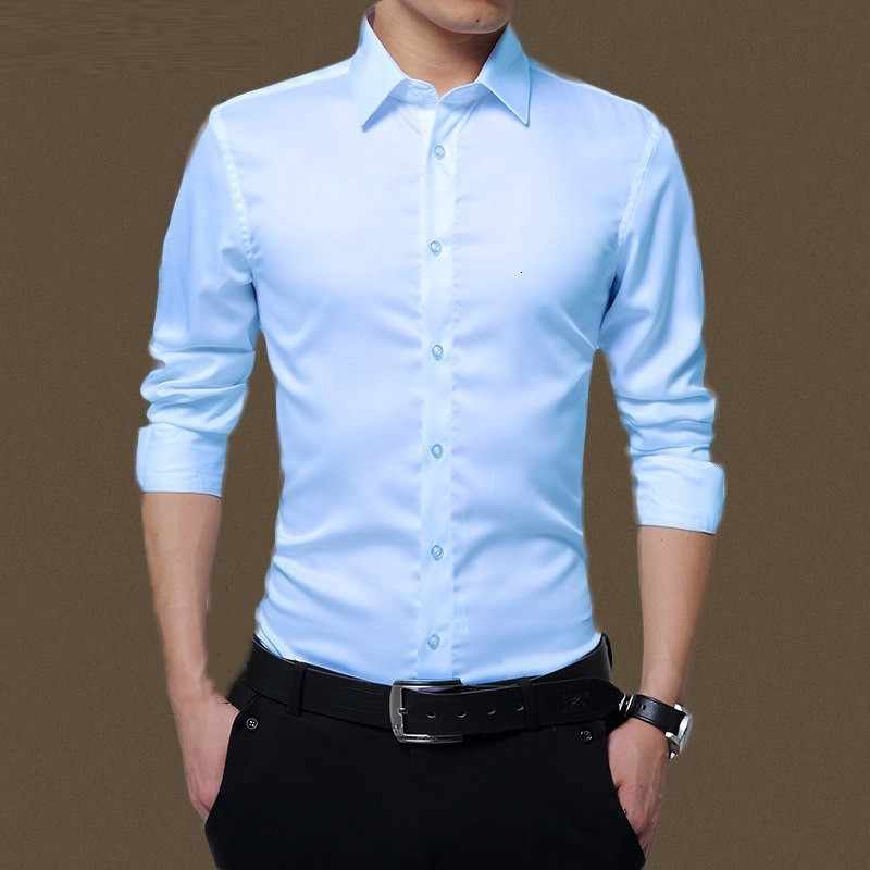 Pria Slim Fit Kemeja Benar Gaun Pekerjaan Pria Warna Solid Kasual Tombol Sosial Bisnis Kemeja