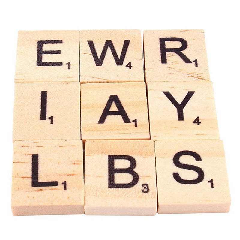 100 sztuk drewna płytki scrabble alfabet literowy Scrabbles liczba Craft angielskie słowa vj-drop