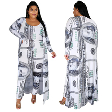 Plus Size Money Dollar Print 2 Pieces Set Long Dress Women Coats And Sexy Tank Long Jumpsuit Bodycon Party Clubwear Fall Clothes