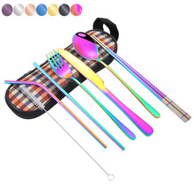 8 Piece Stainless Steel Dinnerware Set Cutlery Multi-Colors Rainbow Sets Dishes Kit Fork Knife Home Tableware