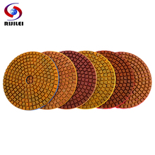 RIJILEI 6PCS Super 4inch Diamond polishing pads dry or wet Copper bond pad for grinding granite marble concrete floor