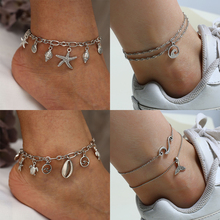 HOCOLE Bohemian Multi-layer Anklets For Women Vintage Shell Starfish Pendant Chain Anklet Summer Beach Foot Leg Fashion Jewelry