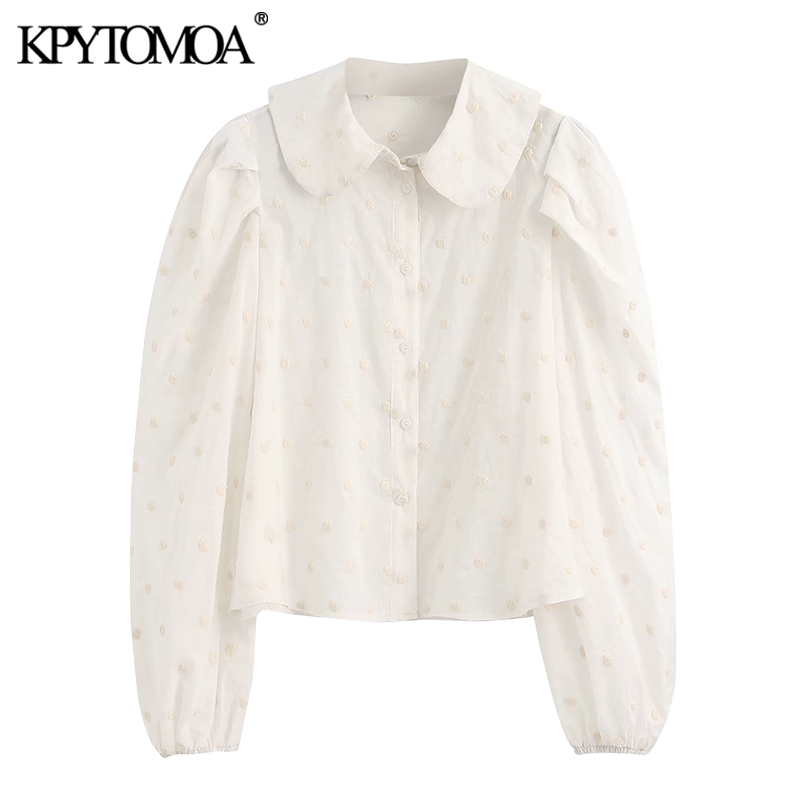KPYTOMOA Women 2020 Sweet Fashion Embroidered Polka Dot Blouses Vintage Peter Pan Collar Long Sleeves Female Shirts Chic Tops