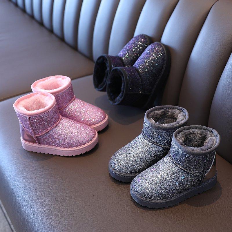 Ботинки для девочек 2020, зимняя детская обувь, детские Классические Теплые блестящие водонепроницаемые плюшевые ботинки для снега, ботинки для девочек, детская обувь|Сапоги| | АлиЭкспресс