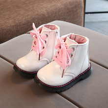 2019 New Autumn Boy Waterproof Patent Leather Winter Fashion Snowboots Girl Kids Martin Toddler Shoes 1 2 3 4 5 6 Years
