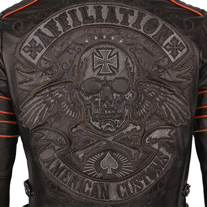 블랙 자수 해골 오토바이 가죽 자켓 100% 천연 소 가죽 모토 자켓 바이커 가죽 코트 겨울 따뜻한 의류 m219