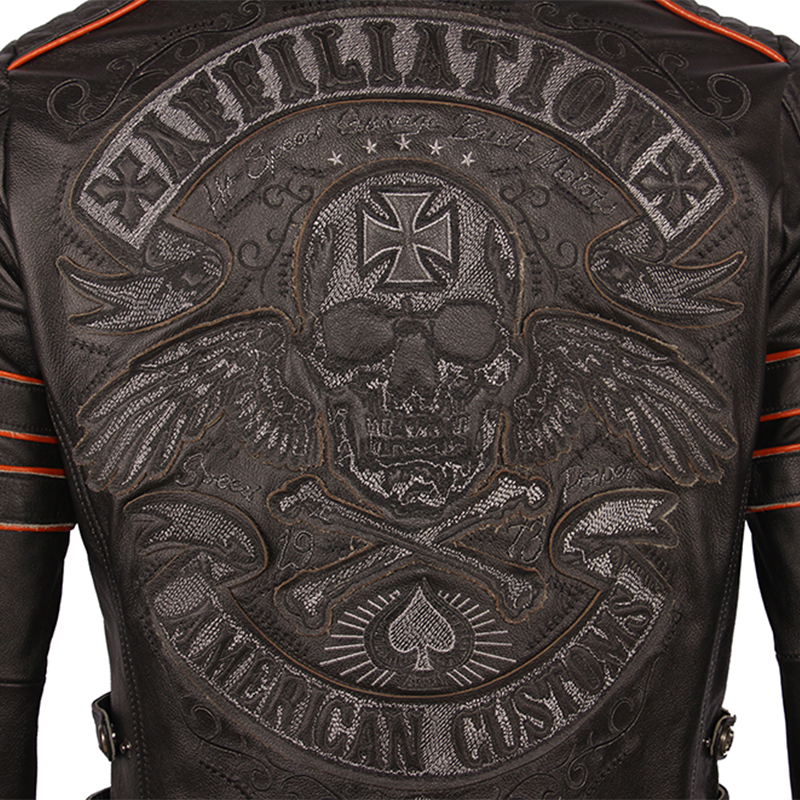 Image 4 - Black Embroidery Skull Motorcycle Leather Jackets 100% Natural Cowhide Moto Jacket Biker Leather Coat Winter Warm Clothing M219Genuine Leather Coats   -
