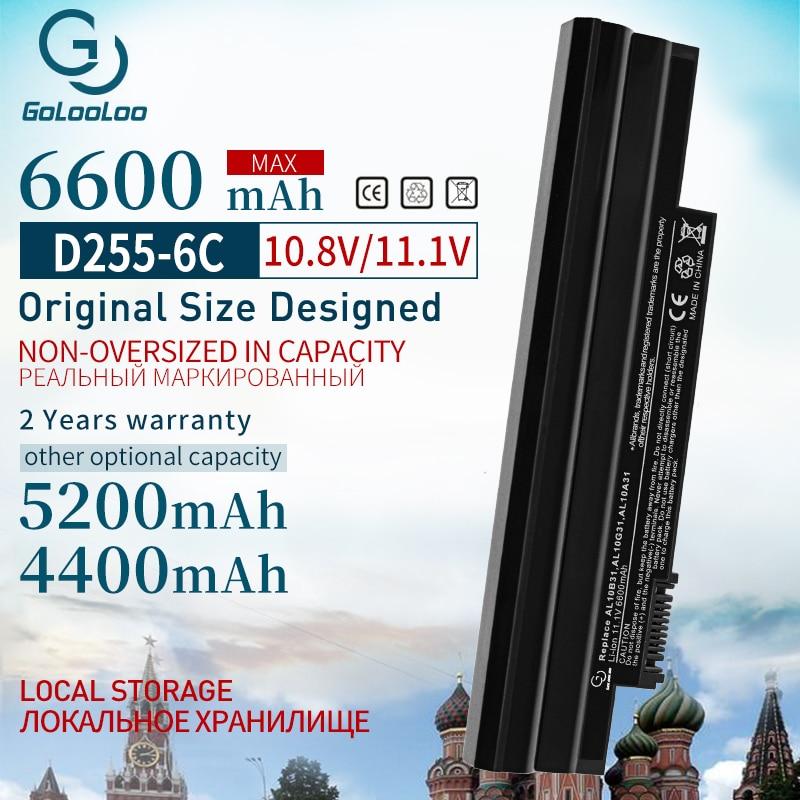 6Cell Laptop Battery For Acer AL10B31 AL10G31 D270 D260 AOD255 AOD260 522 D255 722 D255E D257 D257E D270 E100 AL10A31 ICR17/65