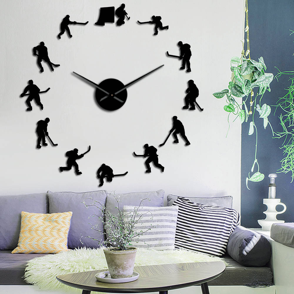 Hockey Sport Wall Hanging DIY Large Wall Clock Ice Hockey Players Silhouette Mirror Stickers Home Decor Wall Watch Gift For Man