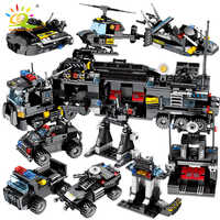 695 pièces 8in1 SWAT Police camions voiture blocs de construction ville hélicoptère bateau briques police chiffres enfants jouets