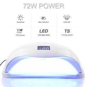 Image 3 - 4 типа УФ лампы светодиодный светильник для маникюра 72 Вт SUN5 PRO две руки лампы 36 шт. светодиодный бисер Сушилка для ногтей для отверждения гель лака для ногтей