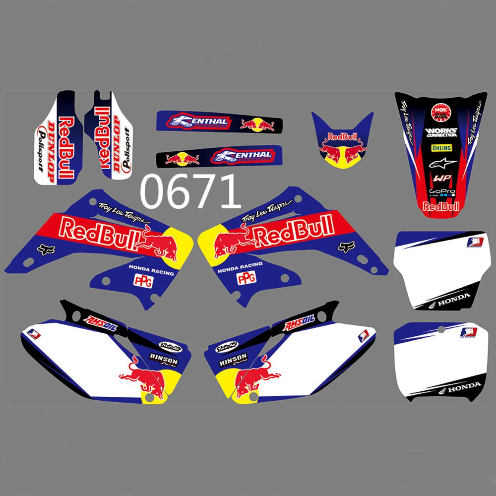 Full Graphics Decals Stickers Kit Custom Number Name Glossy Stickers Waterproof For HONDA CR125 CR250 2002-2012