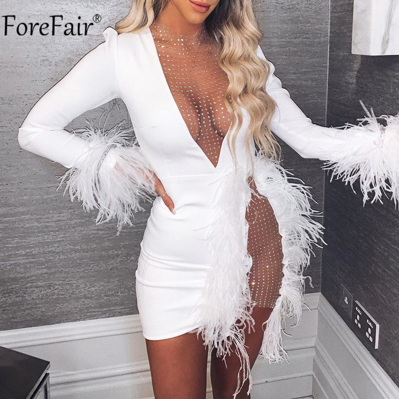 Forefair V Neck Feather Diamond Sexy Dress White Black Women Long Sleeve Autumn Winter Club See Through Mini Party Dresses
