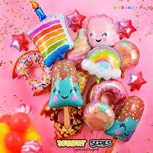Dount decorações de festa de aniversário crianças donut crescer balões de folha de hélio 1st aniversário dois doces globos