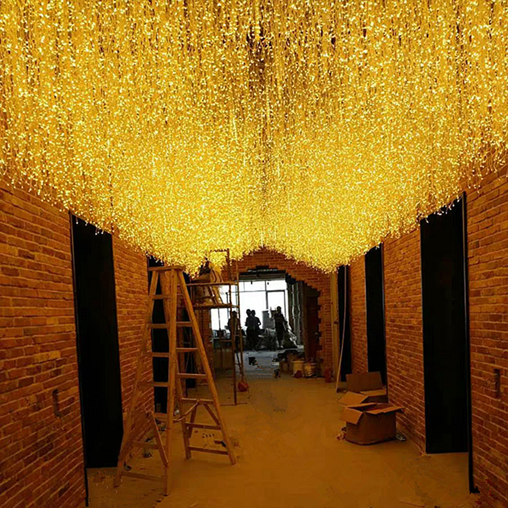 LED Icicle Light Curtain Light Waterfall Light String Garlands Fairy Light Starry Festival Party Decor Outdoor Waterproof Light
