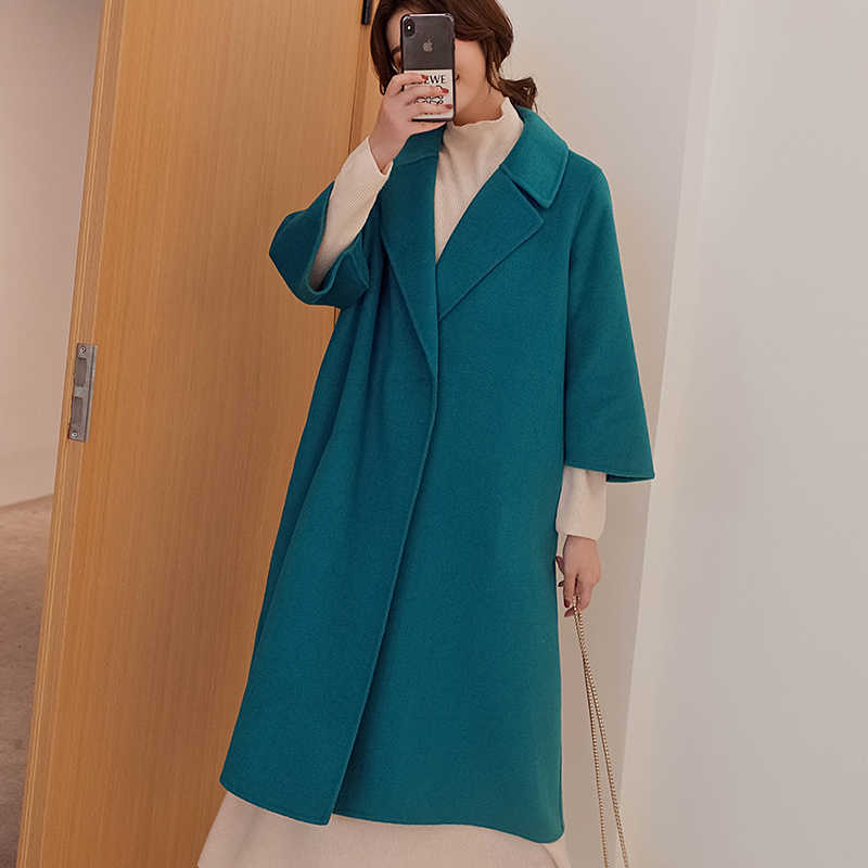 Women's coat 2019 winter new double-sided pure cashmere coat female loose trend wool coat long thick woolen coat