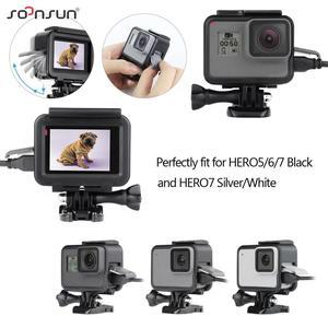 Image 3 - SOONSUN Wind Noise Reduce Foam Cover Windshield Sponge + Frame Mount + Camera Lens Cap for GoPro Hero 7/6/5 Go Pro Accessory Kit