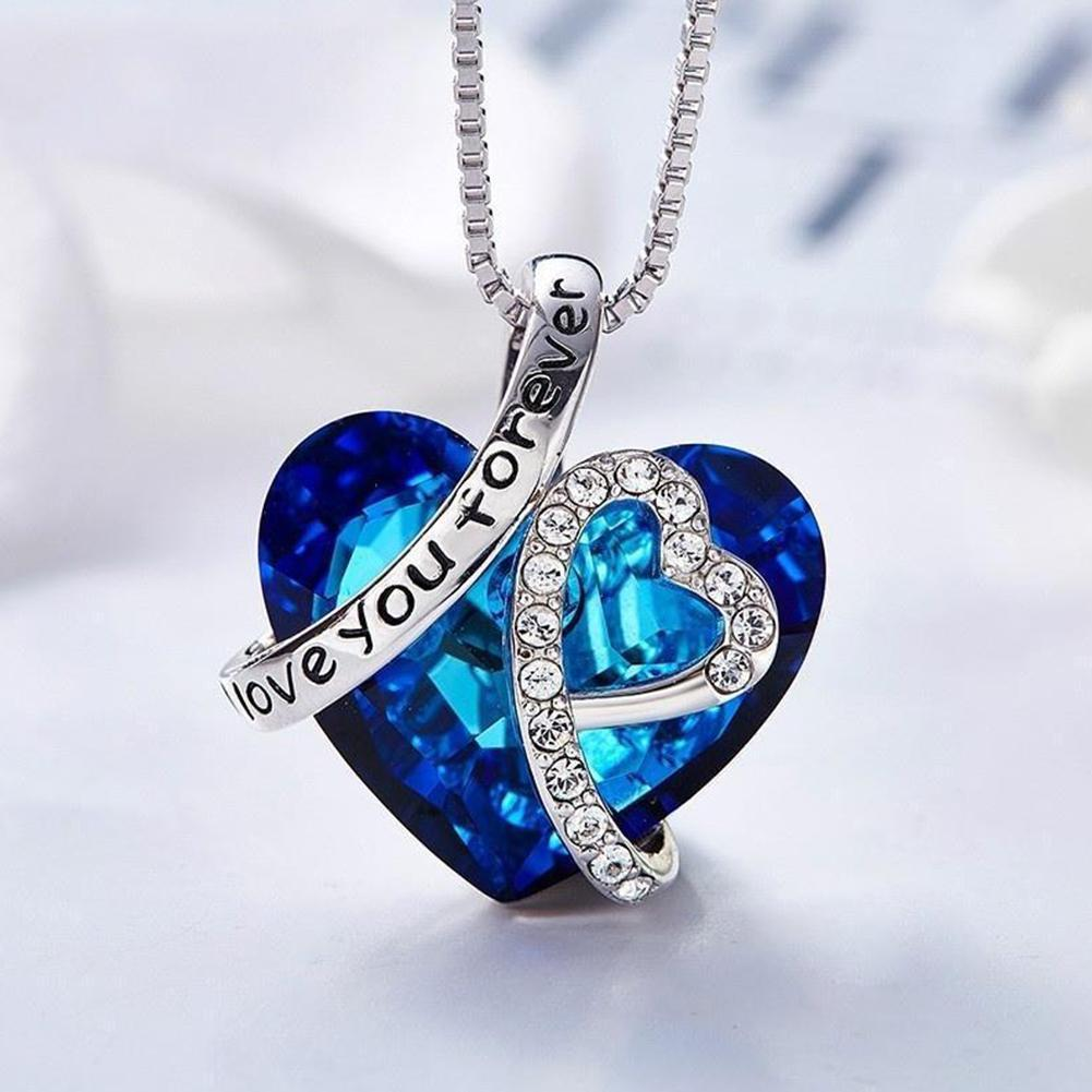 I Love You Forever Heart Pendant Necklace For Women With Blue Crystals Jewelry Female Elegant Blue Crystals Heart Necklace