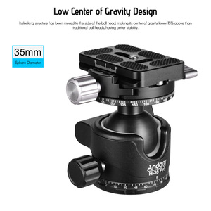 Image 3 - Andoer H 35 Pro Ball Head Tripod Mount Adapter Low Gravity Center with Dual Panoramic Scale U Groove Tripod Head for Camera