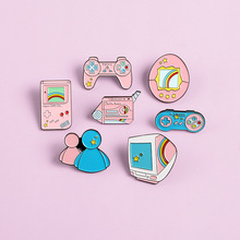 Game Machine Enamel Pin Cartoon Pink Blue Game pad Badges Brooches Denim Clothes Bag Lapel Pin Jwewlry Gift For Friends Kids game machine enamel pin cartoon pink blue game pad badges brooches denim clothes bag lapel pin jwewlry gift for friends kids