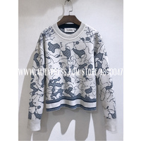 2020 winter cashmere sweater women fashion round neck sweater wool long sleeve embroidered pullover high quality Map sweater