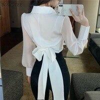 Shirts Frauen Solide drehen-unten Kragen Ins Bauch Cropped Freizeit Koreanische Stil Modische Damen Blusen Langarm Stilvolle Chic
