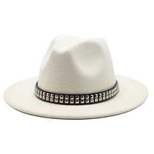 2020 Winter wool Fedoras For Women Wide Brim Felt Hat Ladies Tweed Yellow white Jazz Cap Female Solid color Winter Elegant Hat cheap oZyc Unisex COTTON Polyester Adult Casual winter spring summer autumn 18colors 12cm Men Felt Hat Women Felt Hat 56-58cm