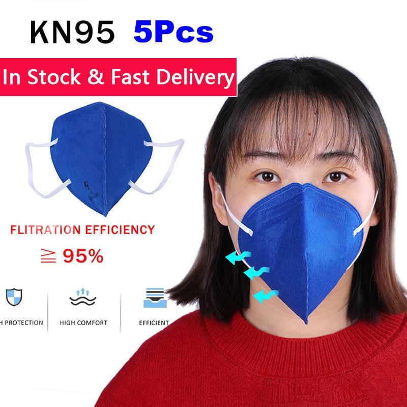 5Pcs Anti Infection Mask KN95 PM2.5 Mouth Mask Anti Virus Dust Respirator Washable Reusable Masks Cotton Unisex Mouth Muffle