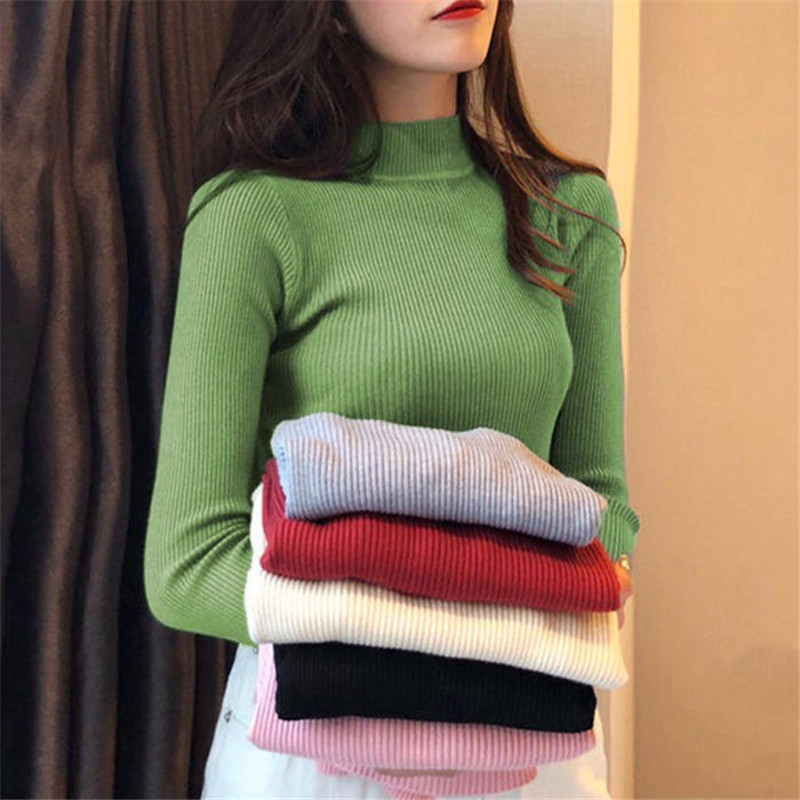 Woman Sweater Autumn And Winter Short Women Turtleneck Sweater Long Sleeve Women Sweaters And Pullovers Women Knitted Jacket