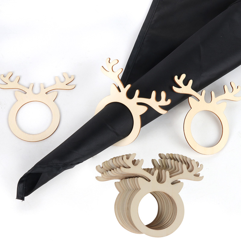 10pcs Reindeer Antler place card napkin holder Mini Wooden Ring for Christmas party   Dinner Banquet Home Table Decor Christmas