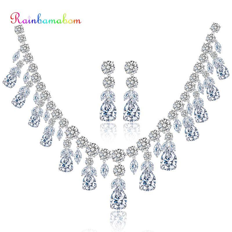 Rainbamabom 925 ensembles en argent Sterling massif goutte d'eau poire topaze blanche Citrine pierres précieuses collier/boucles d'oreilles ensembles de bijoux en gros