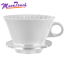 Hand brewed coffee filter cup ceramic cone/fan drip V60 funnel general purpose household