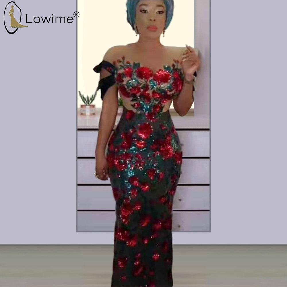 African Sequined Evening Dresses Mermaid Off Shoulder Floor Length Prom Party Dresses Long Femme Robe Formal Dress Women