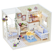 Children Doll House Miniature LED Light Kit DIY Furniture Assembling Toy Wooden Gift assembling diy miniature model kit wooden doll house romantic french coffee trip hut toy with cottage furnitures gift for girl