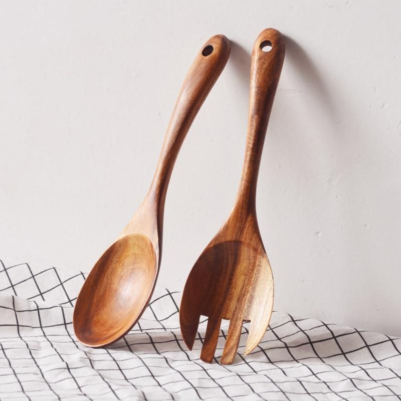 2-Piece Acacia Salad Servers Set, Wood Salad Spoon & Fork Set