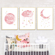 Kids Poster Cartoon Moon Cloud Canvas Art Print Nursery Posters And Prints Pink Wall Art Posters Nordic Baby Girl Room Decor майка борцовка print bar girl and moon