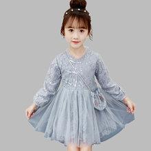 Платье кружевное вечерние цветочным принтом для девочек вечернее