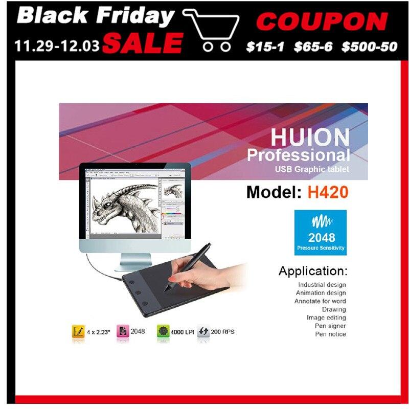 Bilgisayar ve Ofis'ten Dijital Tabletler'de Huion 420 4 inç dijital Tablet yazma sanat çizim grafik Tablet kurulu elektromanyetik 4000 LPI seviyeleri 0.35 W + dijital kalem title=